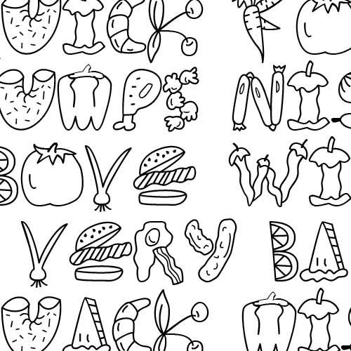 Scrap food font for Cuisine font
