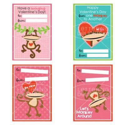 Monkey Around Valentine Cards - PR
