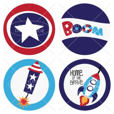 Rockets Cupcake Toppers and Bottle Wraps - PR