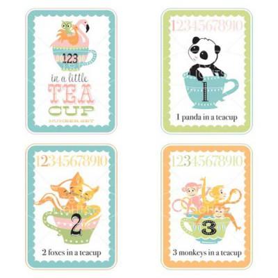 Little Teacups - Number Cards - Girl - GS