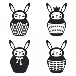 Bunny Babooshka - Black And White - GS