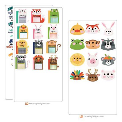 Calendar Animals - Cut Bundle